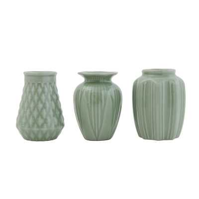 Bloomingville Jade Green Stoneware Vases with Crackle Glaze Finishes (Set of 3 Shapes) Color: Green - Perigold
