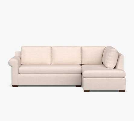 Shasta Roll Arm Upholstered Right Sofa Return Bumper Sectional, Polyester Wrapped Cushions, Performance Heathered Basketweave Platinum - Pottery Barn