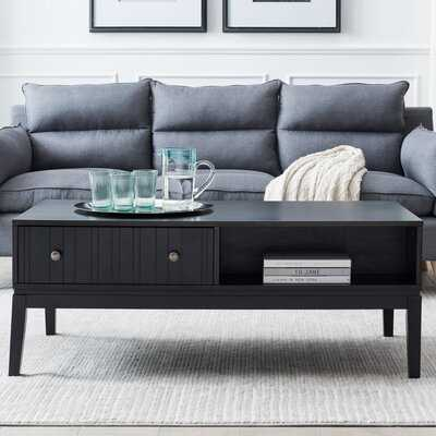Black Coffee Table With Storage Shelf And 2 Drawer - Wayfair