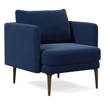 Auburn Chair, Poly, Performance Velvet, Ink Blue, Dark Mineral - West Elm
