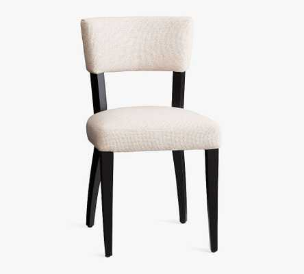 Payson Upholstered Dining Side Chair, Black Leg, Performance Boucle Oatmeal - Pottery Barn