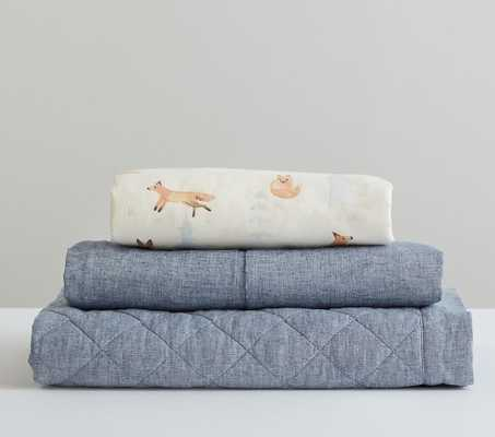 Fox Quilt Set, Fox Flannel Crib Fitted Sheet, Indigo Linen Quilt, Indigo Linen Crib Skirt - Pottery Barn Kids
