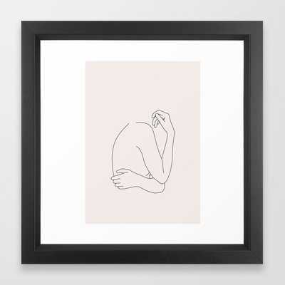 Nude Figure Line Drawing Nia I Framed Art Print by The Colour Study - Vector Black - X-Small-12x12 - Society6