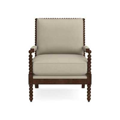 Spindle Chair, Standard Cushion, Performance Slub Weave, Sand, Natural Leg - Williams Sonoma