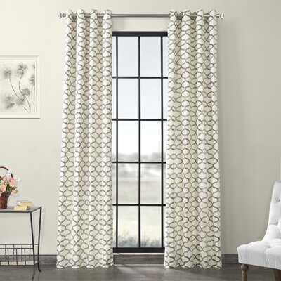 Roger 100% Cotton Geometric Room Darkening Thermal Grommet Single Curtain Panel - Birch Lane