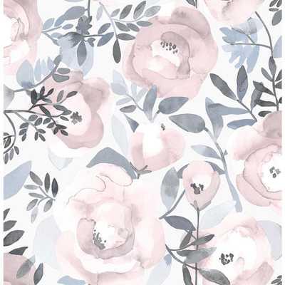 A-Street 56.4 sq. ft. Orla Purple Floral Wallpaper - Home Depot