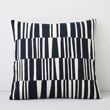 "Crewel Linear Pillow Cover, Midnight, 18""x18"" - West Elm"