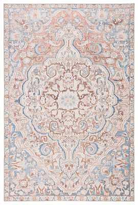Annette Indoor/ Outdoor Medallion Blue/ Light Pink Area Rug (8'X10') - Collective Weavers