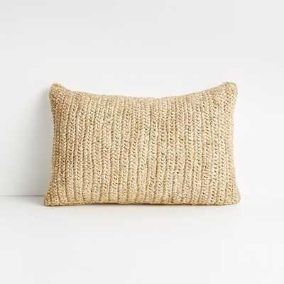 "Bilby 18""x12"" Neutral Decorative Raffia Pillow with Down-Alternative Insert - Crate and Barrel"