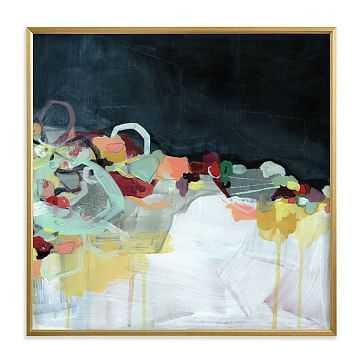 "Abstract Landscape Dark, Full Bleed 30""x30"", Gilded Wood Frame - West Elm"