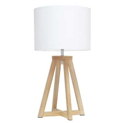 Simple Designs 19 inch Interlocked Triangular Natural Wood Table Lamp with White Fabric Shade - Home Depot