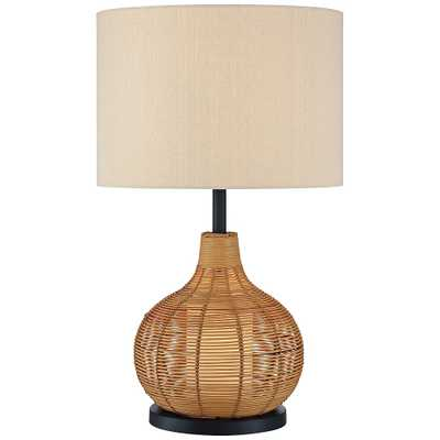 Lite Source Paige Woven Rattan Table Lamp with Night Light - Style # 87P72 - Lamps Plus