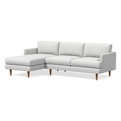 Haven Loft 2-Seat Right Arm 2-Piece Chaise Sectional, Performance Washed Canvas, Stone White, Pecan - West Elm