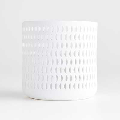 Cali Moon Small White Hurricane Candle Holder - Crate and Barrel
