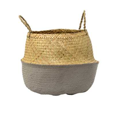 Beige & Grey Seagrass Folding Basket with Handles - Moss & Wilder
