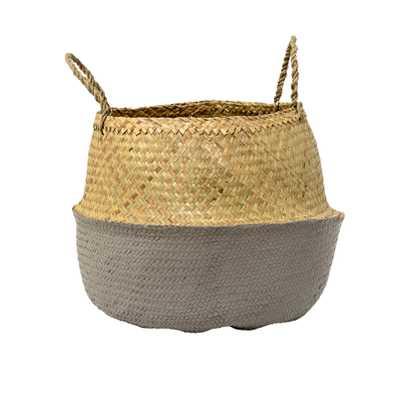 Beige & Grey Seagrass Folding Basket with Handles - Moss & Wilder