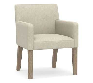 PB Classic Upholstered Dining Arm Chair, Seadrift Frame , Chenille Basketweave Oatmeal - Pottery Barn