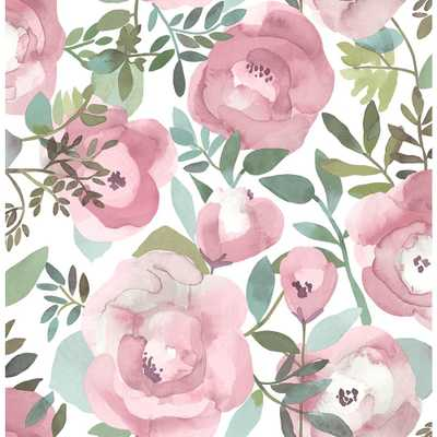 A-Street 56.4 sq. ft. Orla Pink Floral Wallpaper - Home Depot