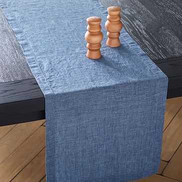 Fiber Dye Table Runner, Indigo - West Elm
