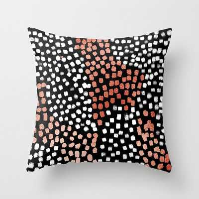 """Drift Abstract Dots With Metallic Copper Minimalist Art Print Couch Throw Pillow by Charlottewinter - Cover (18"""" x 18"""") with pillow insert - Indoor Pillow - Society6"""