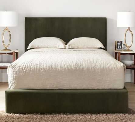 Raleigh Square Upholstered Low Platform Bed without Nailheads, King, Performance Heathered Velvet Olive - Pottery Barn