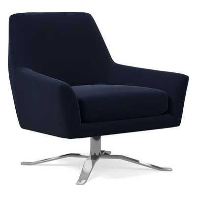 Lucas Swivel Base Chair, Poly, Distressed Velvet, Ink Blue, Polished Nickel - West Elm