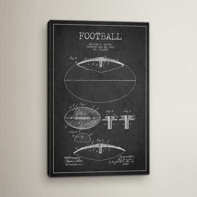 Football Charcoal Patent Blueprint Graphic Art on Wrapped Canvas - Wayfair