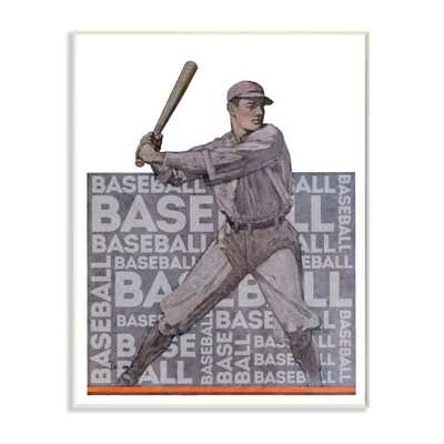 "Stupell Industries 13 in. x19 in. ""Baseball Player Sports Word Design""by The Saturday Evening PostWood Wall Art, Multi-Colored - Home Depot"