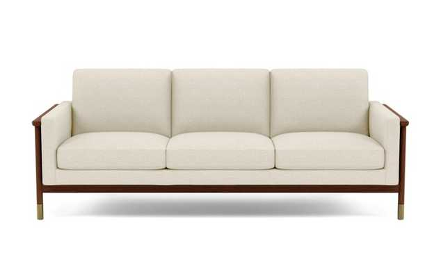 Jason Wu Sofa with Beige Linen Fabric and Oiled Walnut with Brass Cap legs - Interior Define