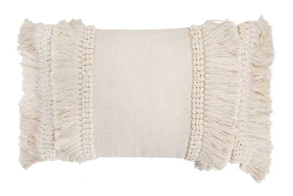 Cream Cotton & Chenille Woven Lumbar Pillow with Long Fringe - Nomad Home