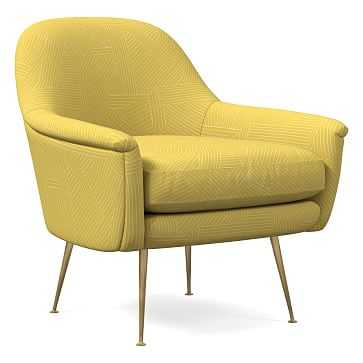 Phoebe Midcentury Chair, Multidirectional Lines, Horseradish, Brass - West Elm