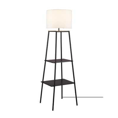"""Globe Electric Collins 61"""" Dark Walnut Finish Shelf Floor Lamp with CEC Title20 Led Bulb Included - Home Depot"""