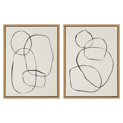 """Kate and Laurel Sylvie """"Modern Circles"""" by Teju Reval of Snazzyhues Framed Canvas Wall Art Set, Natural - Home Depot"""