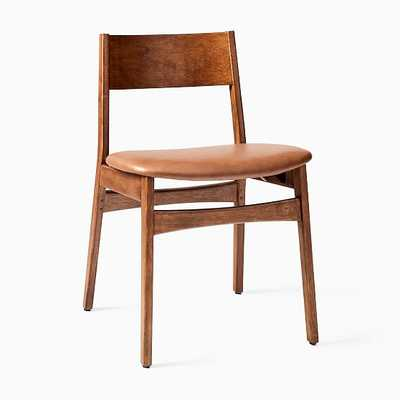 Baltimore Dining Chair, Vegan Leather, Saddle, Walnut, Set of 2 - West Elm