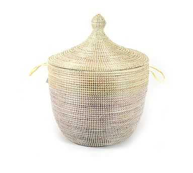 Tilda Two-Tone Woven Basket, Natural - Wide - Pottery Barn