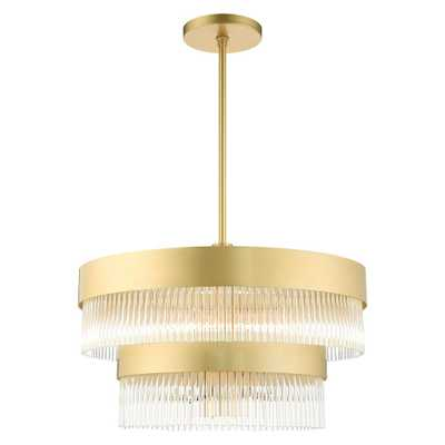Livex Lighting Norwich 6-Light Soft Gold Drum Chandelier with Metal Shade and Crystal Rods - Home Depot