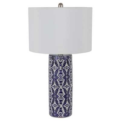 Decor Therapy Patina Vie 27.5 in. Blue and White Ceramic Table Lamp with White Shade - Home Depot