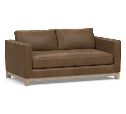 "Jake Leather Loveseat 70"" with Wood Legs, Down Blend Wrapped Cushions Churchfield Chocolate - Pottery Barn"
