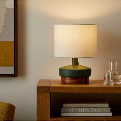 Wood & Ceramic Table Lamp, Small, Green - West Elm