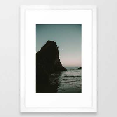 Oregon Coast Dark Ocean Framed Art Print by Leah Flores - Vector White - SMALL-15x21 - Society6