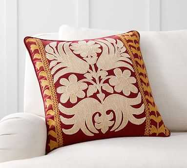 """Bremen Embroidered Pillow Cover, 18"""", Red Multi - Pottery Barn"""