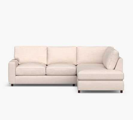 PB Comfort Square Arm Upholstered Left Sofa Return Bumper Sectional, Box Edge Down Blend Wrapped Cushions, Performance Heathered Basketweave Platinum - Pottery Barn