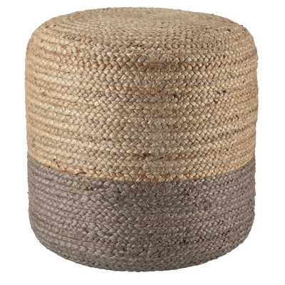 Oliana Ombre Taupe/ Beige Cylinder Pouf - Collective Weavers