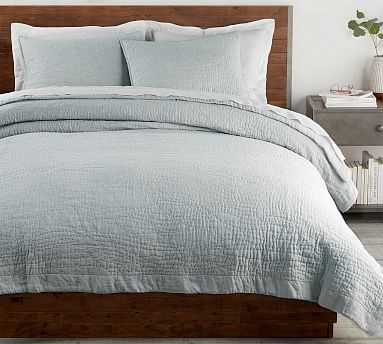 Belgian Flax Linen Hand Stitched Quilt, King/Cal King, Mineral Blue - Pottery Barn