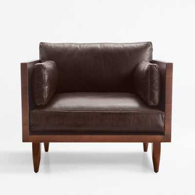 Sherwood Leather Exposed Wood Frame Chair - Crate and Barrel