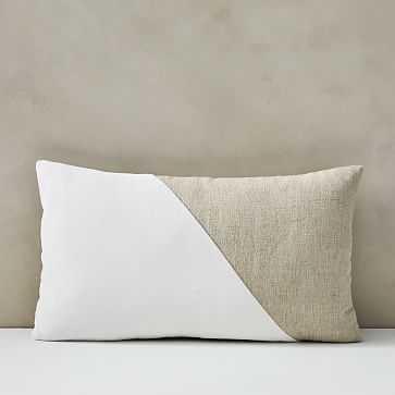 """Cotton Linen + Velvet Lumbar Pillow Cover, 12""""x21"""", Stone White - West Elm"""