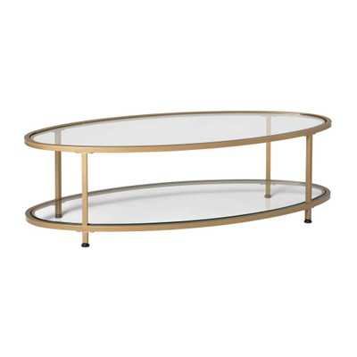 "48"" Camber Modern Glass Oval Coffee Table Gold - Studio Designs Home - Target"