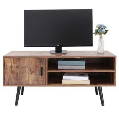 George Oliver Mid-Century TV Stand With 2 Storage Shelves&Door For Living Room, TV Console Cabinet, Retro Entertainment Center For Flat Screen TV Cable Box Gaming Consoles - Wayfair