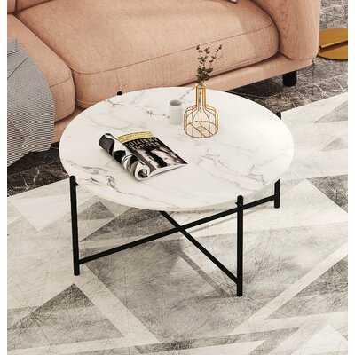 Tawnya Cross Legs Coffee Table, Black, Gray/White Marble - Wayfair