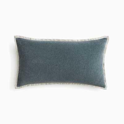 "Classic Cotton Velvet Pillow Cover, 12""x21"", Ocean, Set of 2 - West Elm"